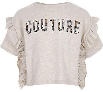 River Island Girls Cream marl 'couture' frill T-shirt