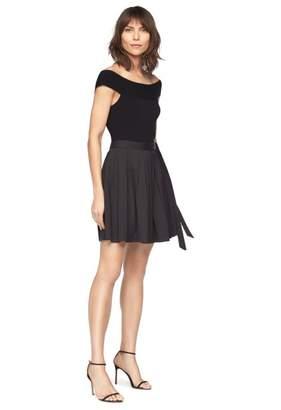 Milly Cotton Stretch Poplin Wrap Mini Skirt