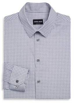 Giorgio Armani White& Blue Square Micro Plaid Shirt