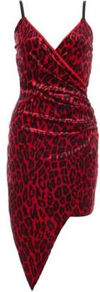 Quiz Womens *Quiz Red Velvet Leopard Print Wrap Dress