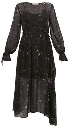 Preen Line Rosalba Floral Print Georgette Midi Dress - Womens - Black Multi
