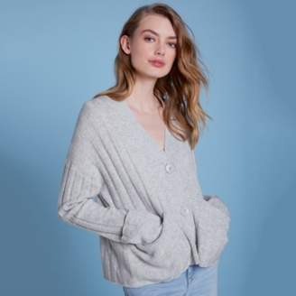 The White Company Wool Rich Turnback Cuff Cardigan, Pale Grey Marl, Large