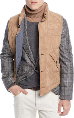 Brunello Cucinelli Men's Quilted Suede Button-Front Vest