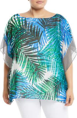 Iconic American Designer Palm Leaf Print Keyhole Chiffon Caftan, Plus Size