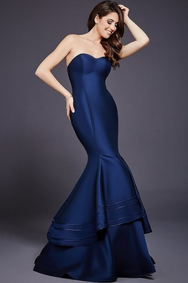 Jovani - Strapless Semi-sweetheart Tiered Mermaid Gown 37897 $590 thestylecure.com
