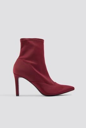 Di Lara Dilara X Na Kd Rectangular Heel Satin Boots Dark Red