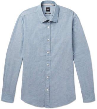 HUGO BOSS Lukas Cotton and Linen-Blend Chambray Shirt