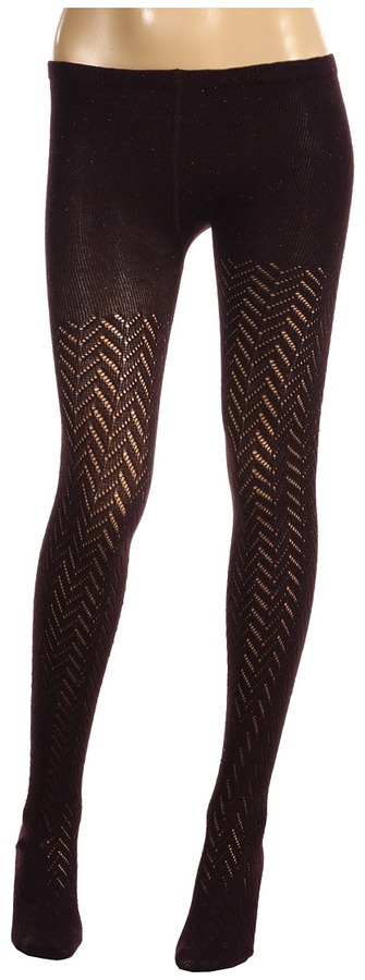 Nicole Miller Donegal Crochet Sweater Tight (Plum) - Hosiery