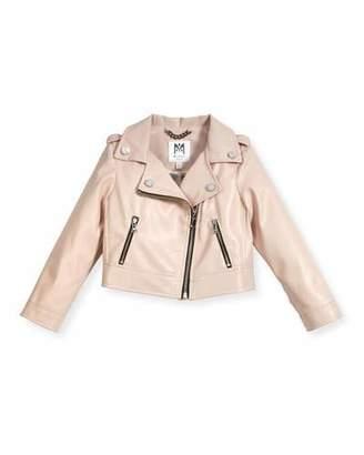 Milly Minis Vegan Leather Moto Jacket, Size 8-16 $295 thestylecure.com