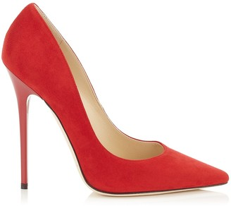 Jimmy Choo ANOUK Red Suede Pointy Toe Pumps