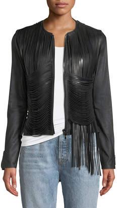 Nour Hammour Allover Fringe Leather Jacket