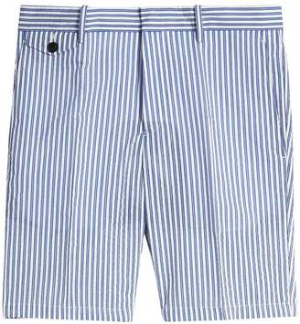 Burberry Striped Cotton Blend Tailored Shorts