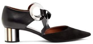 Proenza Schouler Spectra Front Tie Block Heel Suede Mules - Womens - Black