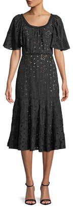Rebecca Taylor Sarah Scoop-Neck Short-Sleeve Eyelet Embroidered A-Line Midi Dress