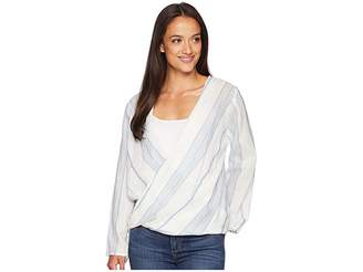 True Grit Dylan by Maddy Chambray Stripe Long Sleeve Wrap Blouse