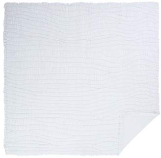 Ashton & Willow Marshmallow White Farmhouse Bedding Aurora Cotton Pre-Washed Ruched Ruffle Voile Solid Color Queen Quilt