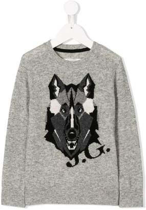 John Galliano wolf intarsia jumper