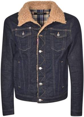 DSQUARED2 Fur Collar Denim Jacket