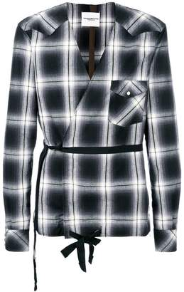 Takahiromiyashita The Soloist collarless checkered print wrap shirt