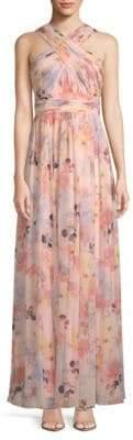 Calvin Klein Floral Wrap-Neck Gown