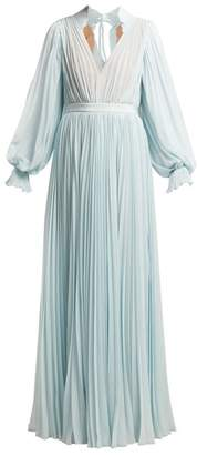 Self-Portrait Self Portrait Pleated Chiffon Maxi Dress - Womens - Light Blue