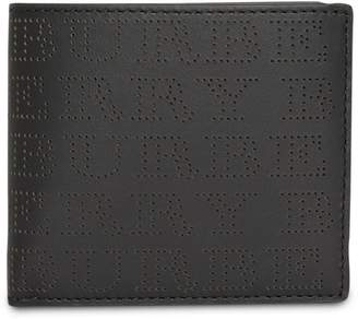 Burberry Perforated Logo Leather International Bifold Wallet