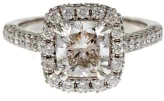 Platinum Cushion Cut Diamond Halo Engagement Ring Size 6.5