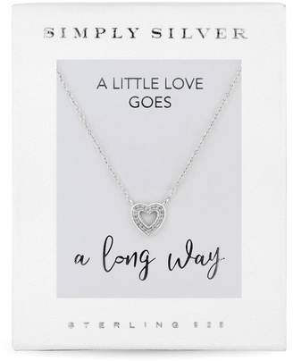 Jon Richard Jewellery Sterling Silver 925 White Cubic Zirconia Carded Boxed Heart Short Pendant Necklace