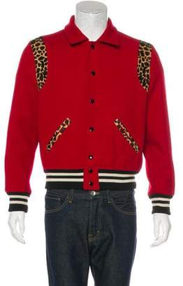 Saint Laurent 2014 Leopard-Trimmed Teddy Varsity Jacket