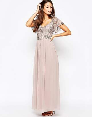 Little Mistress Chiffon Maxi Dress With Sequin Top And Fluted Sleeve $126 thestylecure.com