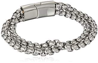 Crucible Jewelry Mens Polished Stainless Steel Double Strand Box Chain Bracelet (11mm Wide)