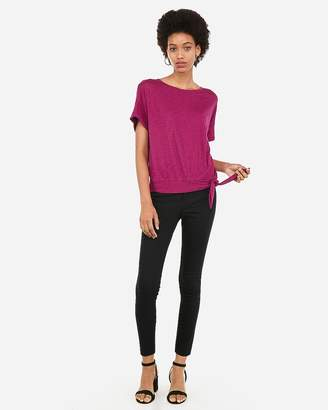 Express One Eleven Roll Sleeve Side Tie Tee