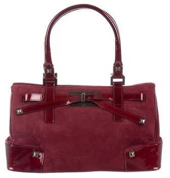 Stuart Weitzman Patent Leather & Suede Handle Bag