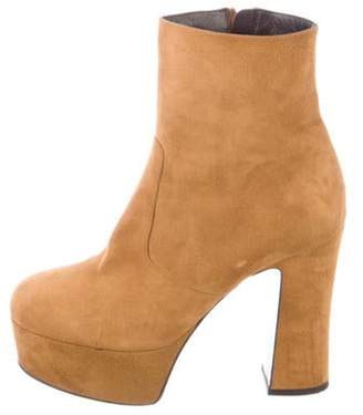 Saint Laurent Suede Ankle Boots Tan Suede Ankle Boots