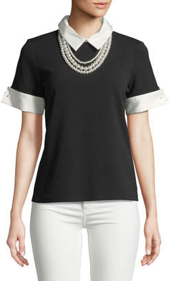 Karl Lagerfeld Paris Collared Short-Sleeve Blouse w/ Pearlescent Necklace