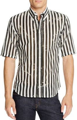 MARC JACOBS Distressed Stripe Slim Fit Button-Down Shirt $295 thestylecure.com