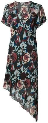 Anna Sui floral print asymmetric dress