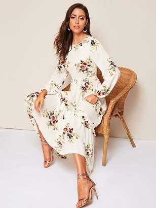 Shein Floral Ruffle Hem A-line Dress
