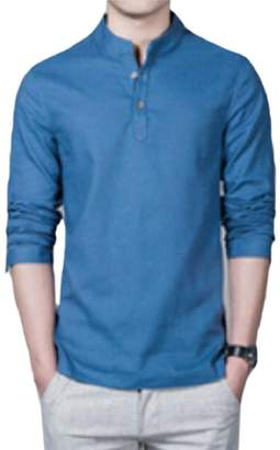1fd8927b38 pujingge-CA Mens Chinese Style Stand Collar Solid Color Linen Henley Shirts  S