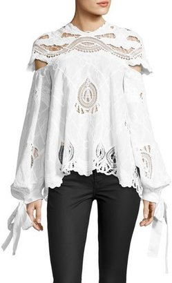 Jonathan Simkhai Crochet-Embroidered Blouson-Sleeve Top, White $675 thestylecure.com