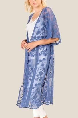 Aniston Floral Embroidery Maxi Lace Kimono - Indigo
