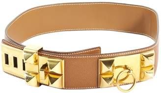 Hermes Vintage Collier de chien Camel Leather Belts