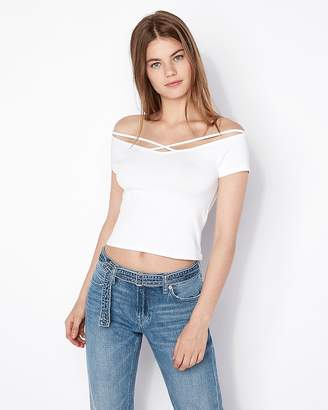 Express One Eleven Off The Shoulder Crisscross Strap Abbreviated Tee