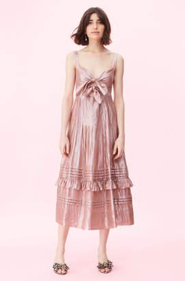Rebecca Taylor Metallic Chiffon Bow Dress