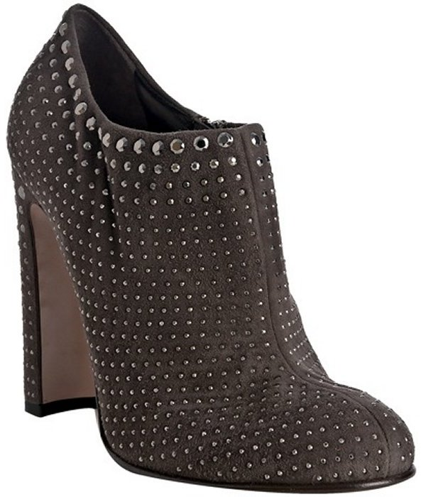 Prada ash suede studded ankle boots