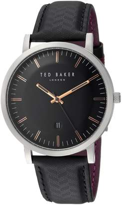Ted Baker Men's 'DAVID' Quartz Stainless Steel and Leather Casual Watch, Color: (Model: TE15193001)