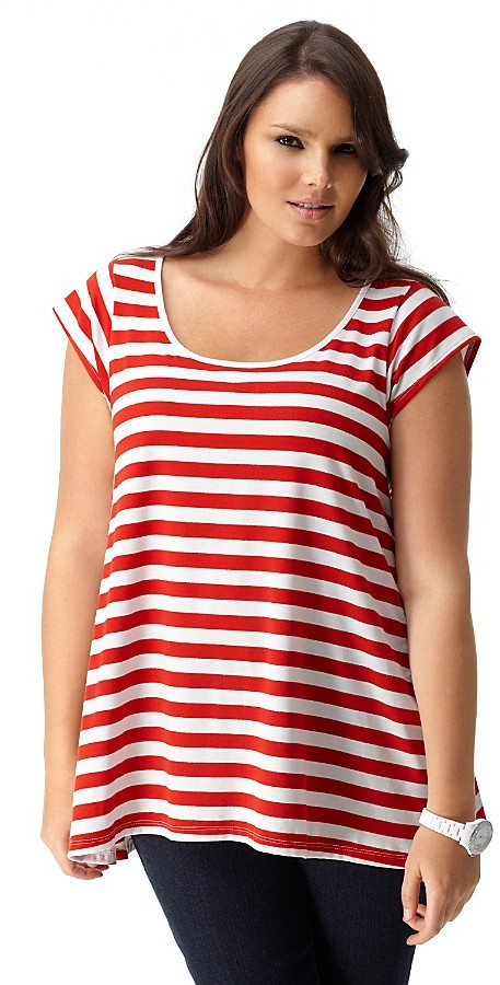 Love Ady Plus Size Striped Tee