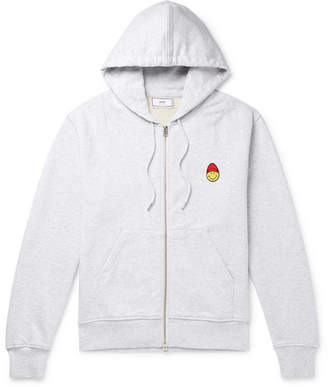 Ami + The Smiley Company Logo-Appliquéd Mélange Loopback Cotton-Jersey Zip-Up Hoodie