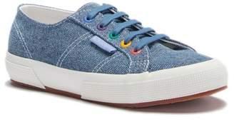 Superga Denim Rainbow Grommet Lace-Up Sneaker
