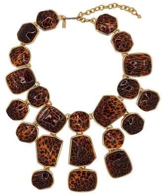 Kenneth Jay Lane Leopard Print Bib Necklace